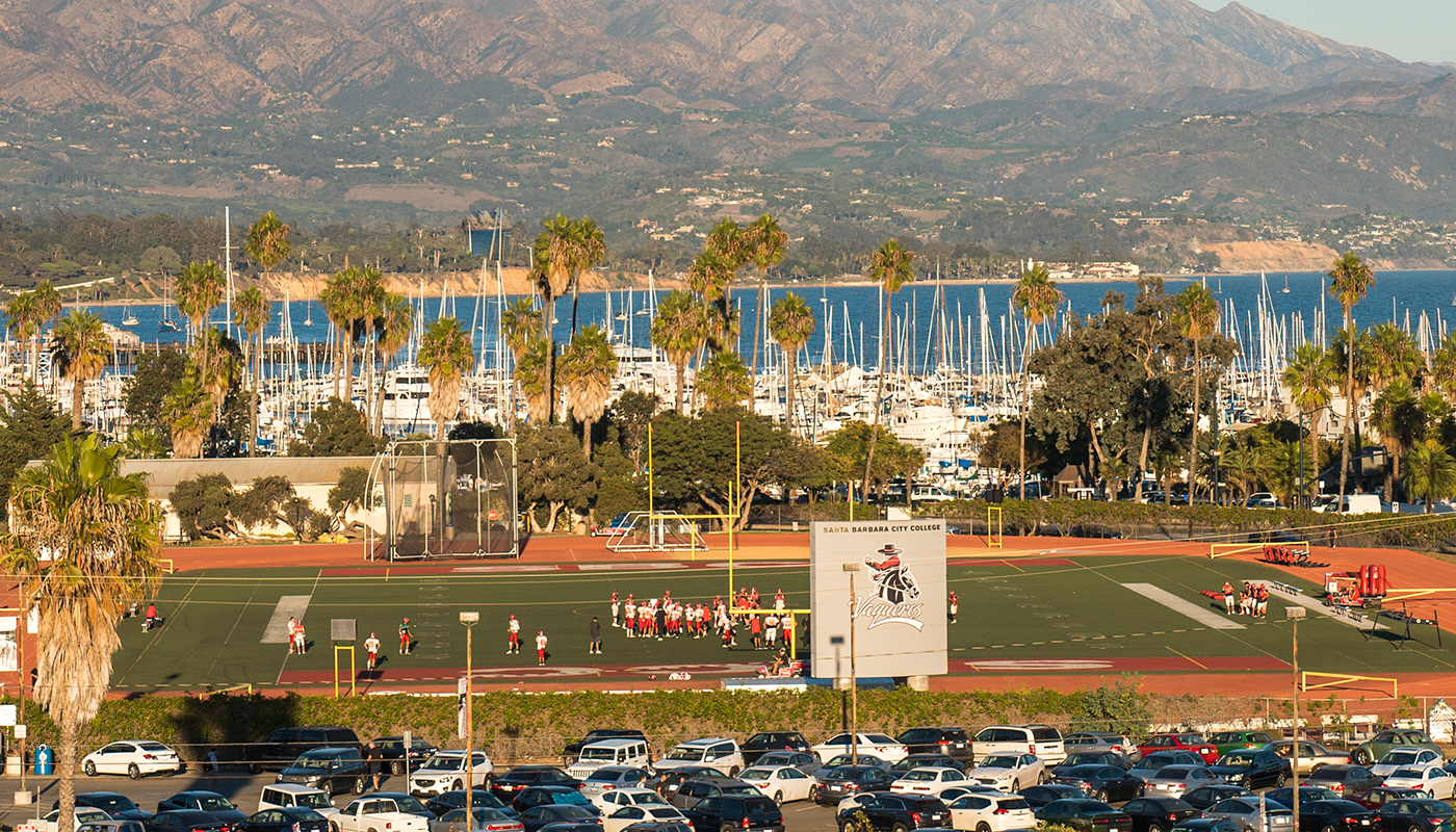 SBCC's football field and Santa Barbara harbor.